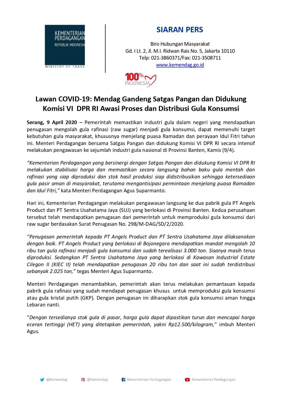 Lawan COVID-19: Mendag Gandeng Satgas Pangan dan Didukung Komisi VI DPR RI Awasi Proses dan Distribusi Gula Konsumsi